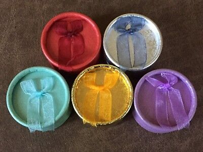 5x Jewelry Round Gift Boxes with a BOW Cardboard-Random Colors x 5 Boxes - Round Cardboard Boxes