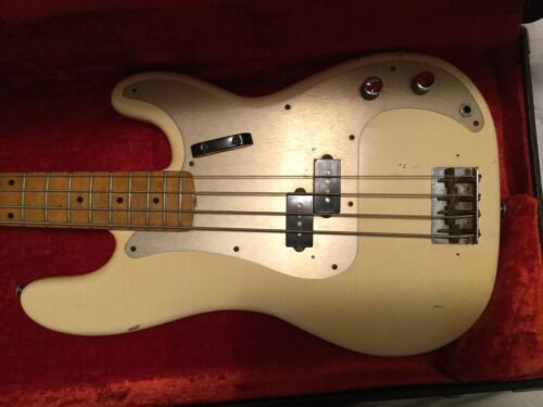 1958 Fender 4 String Precision Bass Olympic White - refin