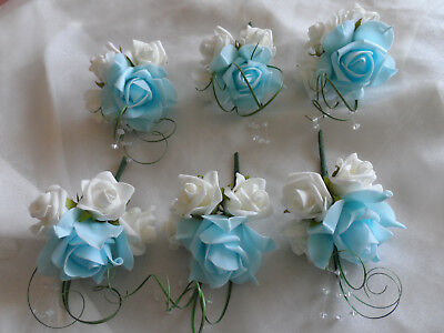 6 Blue & Ivory Rose Corsage Wedding Flowers Artificial