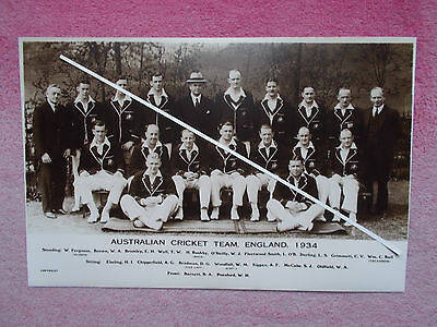 CRICKET PHOTOGRAPH OF AUSTRALIAN CRICKET TEAM 1934