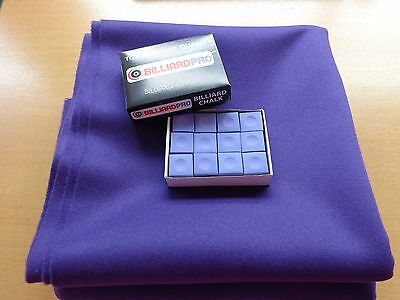 PURPLE 777 WOOL NAPPED POOL TABLE CLOTH 7X4 BED & CUSHION CLOTH & CHALK