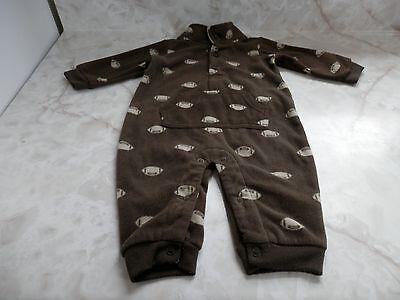 Baby Boy 6 Months Carter's Brown & Beige Fleece Football Pocket Romper Outfit - Football Baby