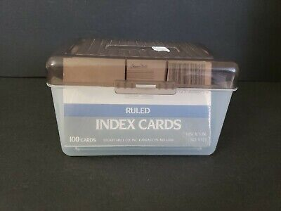 Plastic 3x5 Index Card Box Used Translucent Gray Lid W200 Cards In Pack