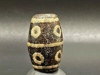 Buddhist Protection Etched Dzi Beads 20mm Round Ancient Pyu striped Etched Agate Bead Talisman Bead-#DZIX68