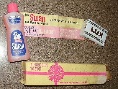 1962 Swan Dish Detergent sample bottle w/Lux Beauty Band soap in gift box