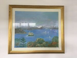 Hand painted scene of Sydney Harbour Labrador Gold Coast City Preview