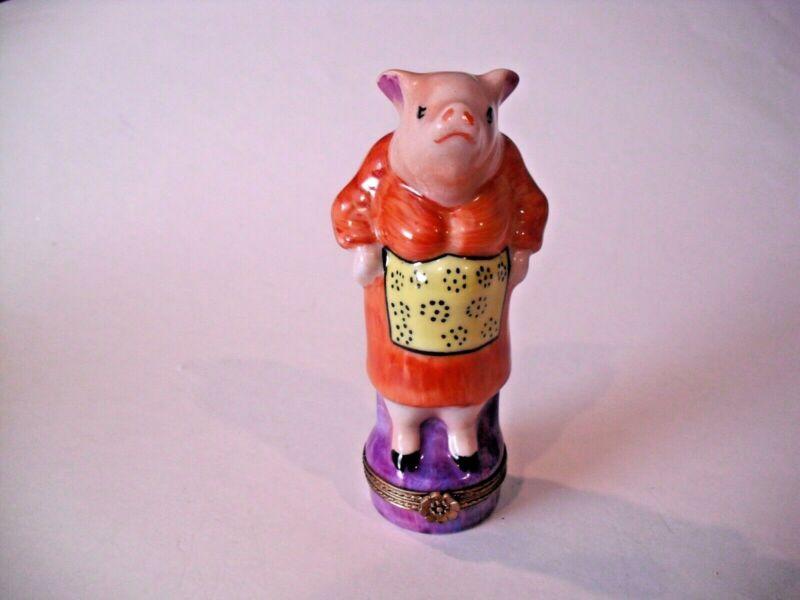 Peint Main Limoges Trinket Box-Mamma Pig