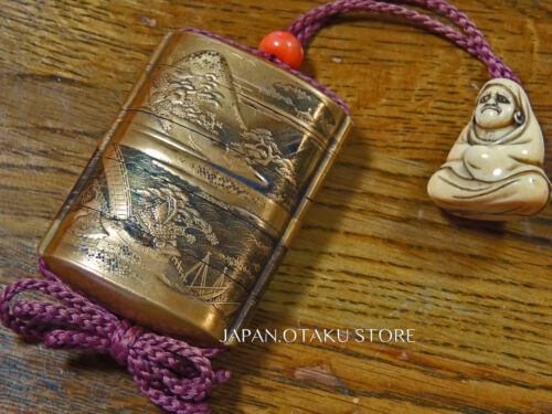 Bodhidharma Daishi DARUMA Netsuke Mountain Sea Shrine Temple Zen Maki-e INRO