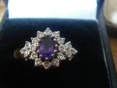 VINTAGE 9CT AMETHYST AND DIAMOND RING