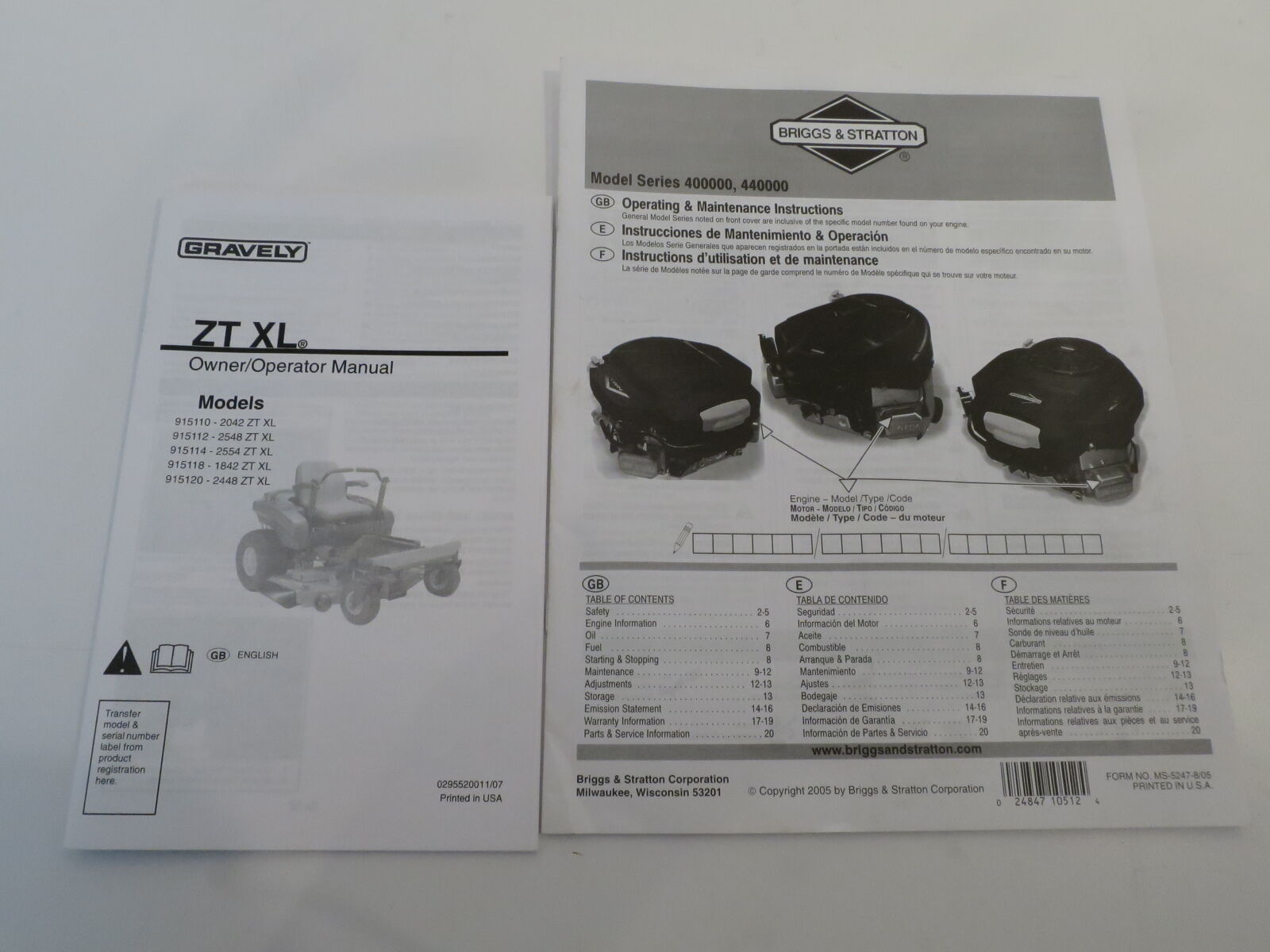 Gravely ZT XL / Briggs & Stratton OPERATOR OWNERS MANUAL for Lawn Mower  Tractor