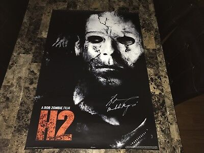 Halloween H2 Rare Signed Horror Movie Poster Michael Myers Tyler Mane Rob Zombie](Rob Zombie Halloween 2 Poster)