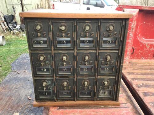 Vintage Antique Brass US Post Office PO Mail Box Glass Window 12 Door box