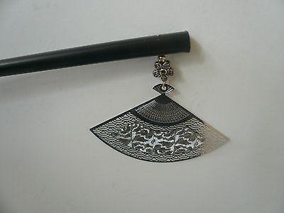 "Japanese Handmade silver-tone ""Sensu"" Fan Kanzashi Wood Stick Hair Accessories"