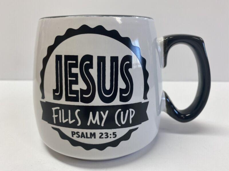 Jesus Fills My Cup Mug Psalm 23:5 Coffee Tea Mug Black And White Inspirational