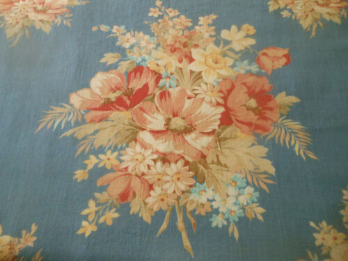 Antique Vtg. Large Floral Bouquet Cotton Fabric ~ Apricot Blue ~ 1940
