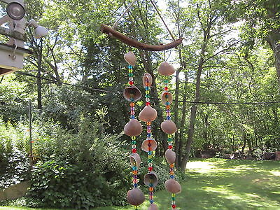 """Wind Chimes Seashell Colorful acrylic beads Natural shells 24""""  AF"""