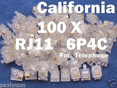 100 X RJ11 Plug 6P4C Phone Modular Telephone Cord Connector Adapter Crimp CAT