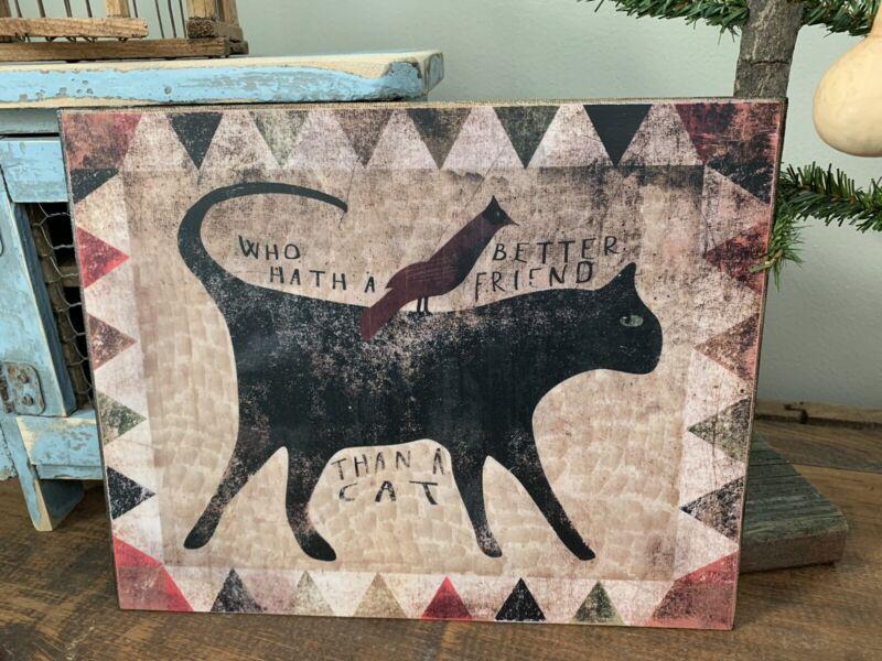 Folk Art Primitive Cat On 8x10 Canvas