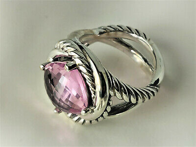 David Yurman Sterling Silver Pink Morganite Infinity Ring,  size 8