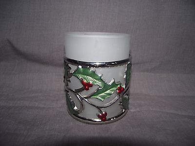 Lenox Holiday Dimension Votive Candle Holder Silver Openwork with Tag - Lenox Holiday Votive