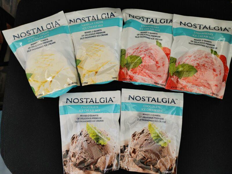 (6) Nostalgia Chocolate Vanilla Strawberry Ice Cream Mixes Exp 2022