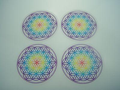 "Set 4 Untersetzer ""Blume des Lebens"" 9,5 cm Chakra-Farben Lebensblume aus Acryl"