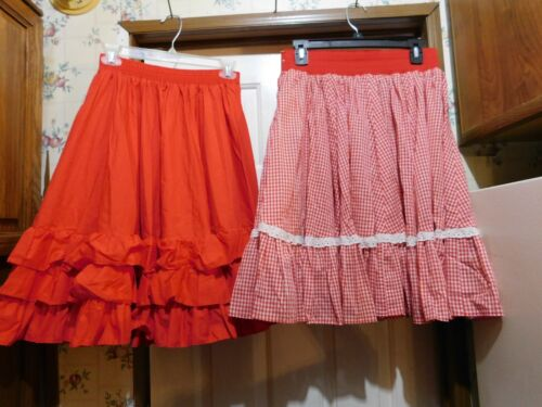 """(2) Square Dance SKIRTS Red Partners Please Medium & Red & White 28-30"""" Waist"""