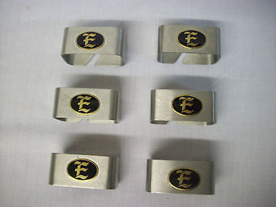 Set of 6 brushed Stainless Steel napkin ring holder monogram brass E silverware