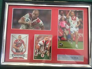 Signed MATT Cooper St George Illawarra dragon NRL frame Burleigh Waters Gold Coast South Preview