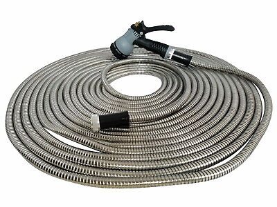 Metal Garden Hero Hose 75' ft Stainless Steel With Free 8 Pattern Sprinkler New