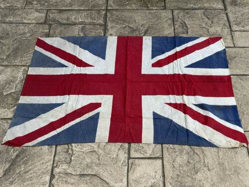 WW2 Original British Union Jack Printed Cotton Flag 111cm x 80cm VE Day Military