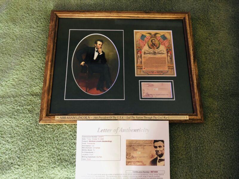 ABRAHAM LINCOLN Signed Handwriting Word (JSA LETTER) Framed CIVIL WAR no psa bas