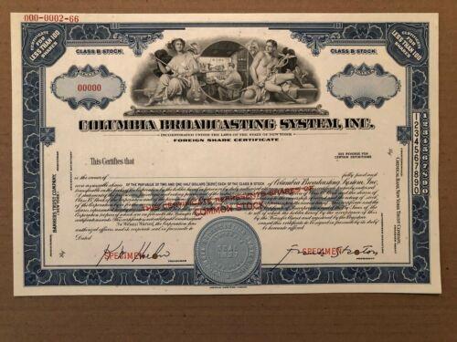 COLUMBIA BROADCASTING SYSTEM SPECIMEN STOCK CERTIFICATE RARE CBS COMMUNICATION