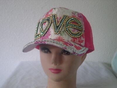 WOMEN'S RHINESTONE (LOVE) FRONT-PRINTED,BACK-MESH CAP AND HAT Rhinestone Mesh Back Cap
