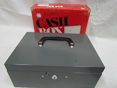 Hunt Lit-ning Gray Metal Cash Box Swing Handle With Original Box 4 Keys Tray