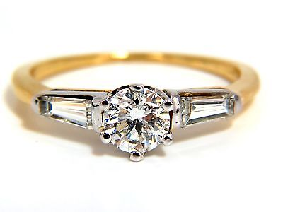GIA CERTIFIED .81CT ROUND CUT DIAMOND RING BAGUETTES 14KT H/SI+