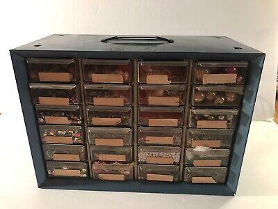 Akro-mils 24-drawer Metal Storage Bin Loaded With Crafts