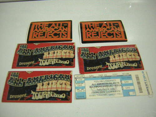 ALL AMERICAN REJECTS UNUSED COMP TICKET 12-06-2006 W/ 5 PROMO STICKERS 2003 -07
