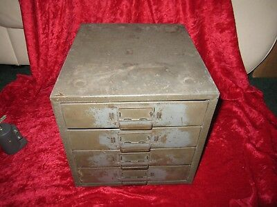 Vintage Union Chest Metal 4 Drawer Utility Small Parts Storage Cabinet Model 410