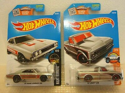 Hot Wheels Zamac Lot (2) 69 Dodge Charger 500 & 67 Chevy C10 Mint In Package MOC