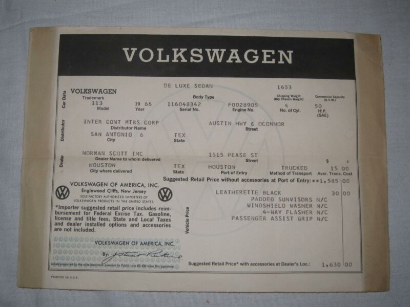 1966 Volkswagen De Luxe Sedan Window Sticker Sales Beetle Houston Texas Delivery