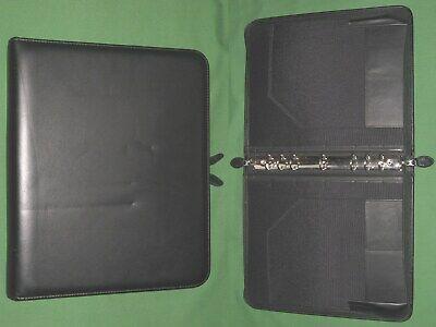 Folio 1.0 Black Leather Day Timer Planner 8.5x11 Binder Franklin Covey Monarch