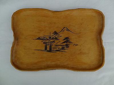 Vintage Japan carved wooden nut plate tray souvenir dish mountain scene platter