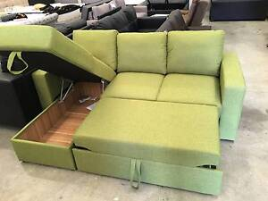 Brand New Fabric Corner Sofa Bed with Storage Green/Grey Colour Clayton South Kingston Area Preview