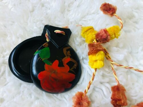 Vintage Hand Painted Castanets - Spanish Flamenco Dancers - Pompoms Red Yellow