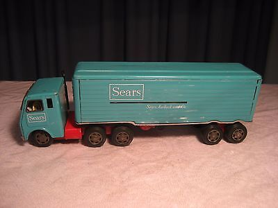 VINTAGE JAPAN TIN LITHO FRICTION TOY SEARS TRACTOR TRAILER 15 1/2