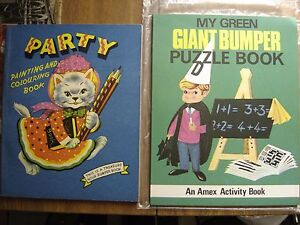Vintage 1960's Childrens Colouring Book and Puzzle Book  Unused