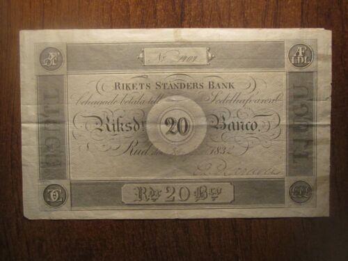 1832 SWEDEN 20 RIKSDALER RIKETS STANDERS BANK