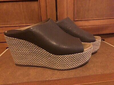 Anthropologie Miss Albright Brown Leather Wedge Platform Heels  Sz 7 38 EUR
