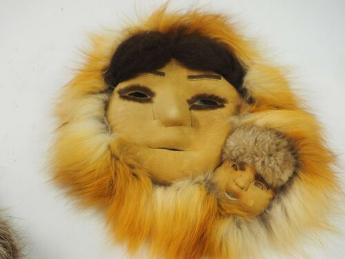 Alaskan Numamiut Eskimo Caribou and Red Fox  Double Mask by Justus Mekiana